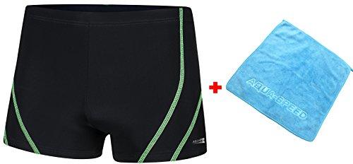 AQUA-SPEED® Herren Badehose | Schwimmhose | S-XXXL | Modern | Perfect Fit | UV-Schutz | Chlor resistent | Kordelzug 14. Black