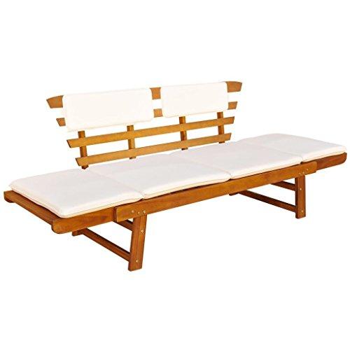 Vidaxl robusto lettino sdraio/panca da giardino in legno massello di acacia 190x66x75 cm