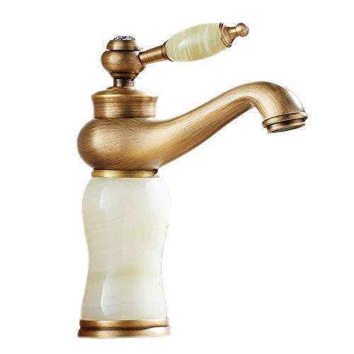ZJGZDCP Waschtischarmaturen Basin Tap Badarmatur Wasserhahn Becken Bathroom Sink Europäischer Stil Antik Messing Marmor Polieren Warmes Und Kaltes Mischen (Color : Sapphire)
