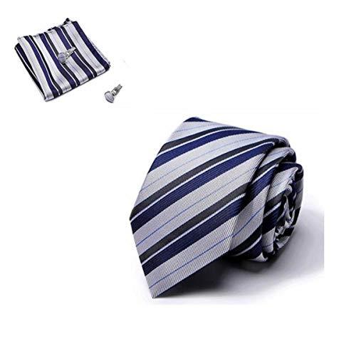 Elemental Goods Premium Herren Krawattenset | 3-teiliges Set | Luxus-Krawatte | Lange Größe 145cm * 8cm | Necktie Seide | Gewebt Kostüm Hochzeit Party Business | Taschentuch | Manschettenknöpfe |