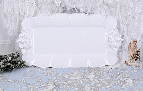 Servierplatte Porzellan Platte Shabby Chic Schale Weiss Kuchenschale