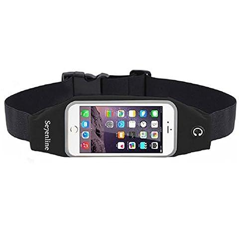 Se7enline Sport Laufgürtel / Gürteltasche / Sport Gürtel Tasche / Running Belts/Hüfttasche - Touch-screen-Fenster, wasserfest, leicht, hohe Elastizität - 5.5 Zoll Bildschirmgröße für iPhone 6G/6/6S Plus, Samsung Galaxy S6/ Edge/S5/S4/Note 5 4 3LG HTC - gut für Männer / Frauen / Teens zu Fuß zu genießen, Laufen, Reiten, Sport Radfahren Wandern, Gassi gehen - Schwarz/ black
