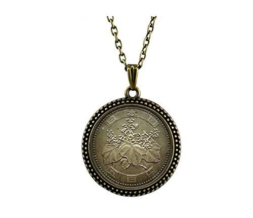 Xubu Halskette mit Münz-Anhänger, 500 Yen Rückseite Münzen-Halskette, Geschenk für Münzsammler