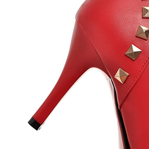 VogueZone009 Donna Cerniera Tacco Alto Scarpe A Punta Stivali con Ornamento Di Metallo Rosso