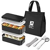 joyoldelf Lunchbox Bento Box Set - Lunch Box con 2 Scomparti ermetici, tra Cui Cucchiaio, forchetta e Borsa per Il Pranzo, Perfetto per Adulti e Bambini, Nero, Lunchbox-to-Go