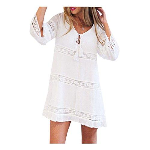 irina Femmes d'été trois-quarts en vrac dentelle Boho plage Mini robe (M)