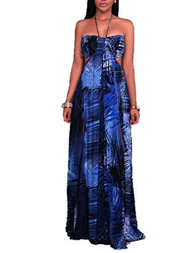 Tupath El cinturón Dividido del Vestido de la Playa de la Correa de Halter de Las Mujeres de los Modelos de la explosión Sale el Vestido Estampado (Color : Azul, tamaño : X-Large)