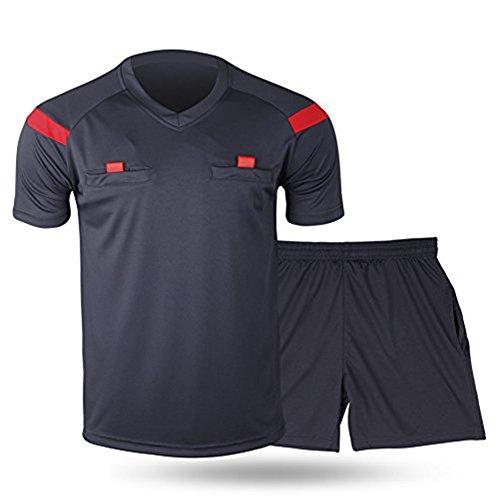 Shinestone Herren-Schiedsrichter-Trikot, für Fußball, kurze Ärmel, Dark-Grey, S