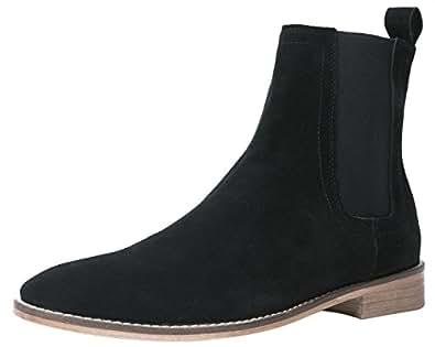 848b92030ea1 Santimon Mens Black Boots Suede Leather Casual Dress Ankle Chelsea Boots  Formal Shoes UK 4.5