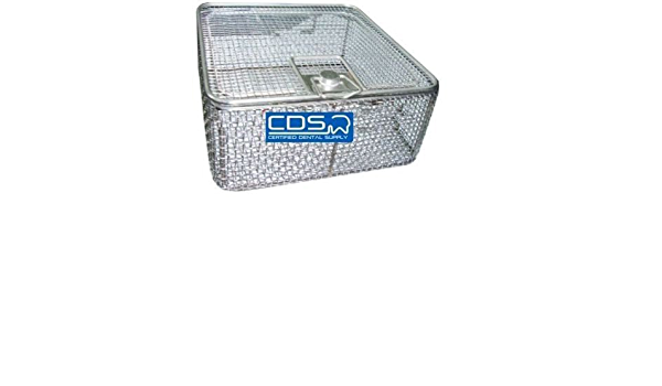 Dental Medical Office Full Wire Mesh Basket with Hinged Removable Lid Lock Large