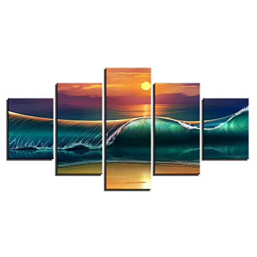 Malerei,HD-Inkjet-Multi-Seascape-Wave-Art-Malerei Zuhause Schlafzimmer Mode Nacht Hintergrund malen 13 Malerei Kern 40x60cmx2 40x80cmx2 40x100cmx1 ()