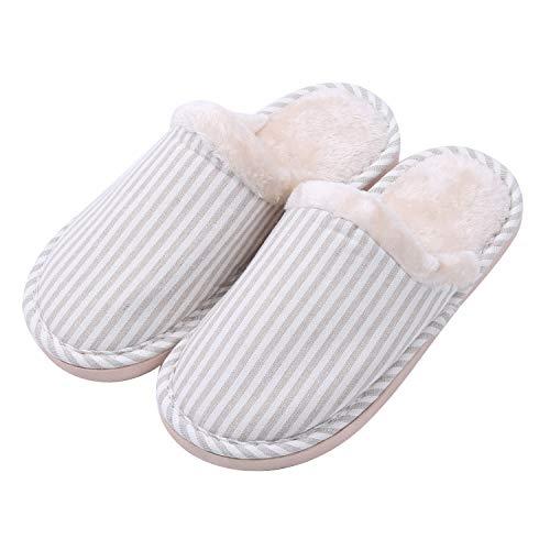 TININNA Unisexe Ultra Léger Sandales d'hiver,Pantoufles Chaussons en Coton Mousse à mémoire Chaud Hiver Intrarieur Anti-Derapant Shoes Chaussures House Slipper pour Femmes Hommes Beige L