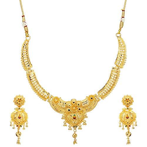 4746bca091df9 Mansiyaorange Traditional Party Wedding Wear One Gram Gold Original Work  Premium Golden Necklace Jewellery Sets for Women(Wax Forming)