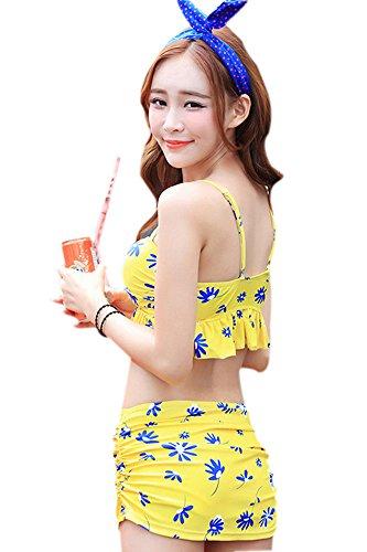 Es gibt drei Gruppen von Badeanzügen ausgestattete Spitzenbluse Dame Badeanzug Badeanzug Gelb