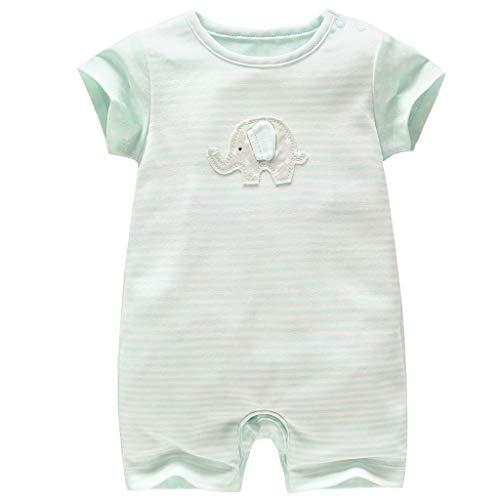 Strampler Mädchen Baby-Schlafanzüge Einteiler mit Kurzen Beinen Elefant 6-9 Monate ()