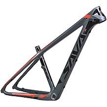 """SAVA Marco de Bicicleta Troay T800 Fibra de Carbono MTB 27.5*17""""/ 27.5*15.5"""" Cadre de Bicicleta de Montaña de Carbono (Gris & Rojo, 27.5 * 17"""")"""