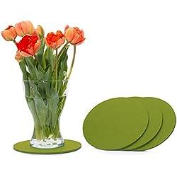 FILU Filzuntersetzer rund 20cm 4er Pack (Farbe wählbar) Grün - Untersetzer aus Filz für Tisch und Bar als Glasuntersetzer/Getränkeuntersetzer für Glas und Gläser