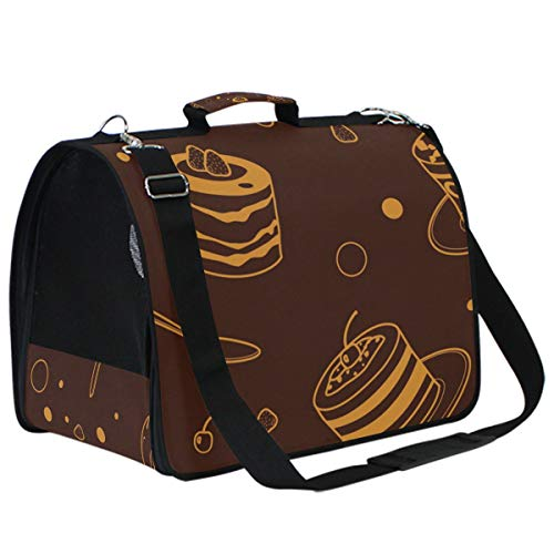 AMONKA Tiramisu Cake Chocolate Pattern Pet Carriers for Small Medium Cats Dogs Collapsible Puppy Travel Carrier Bag with Replacement Comfy Mat