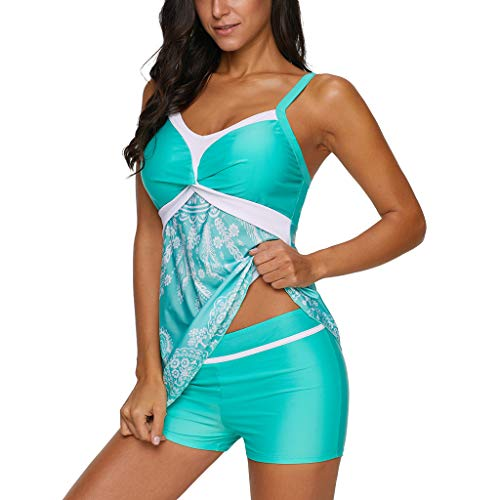 CixNy Damen Plus Size Zweiteilige Tankini Badeanzug Retro Bikini Set Sportliche Swimwear Monokini Jahrgang Drucken Splicing Split Badeanzug Damen Bademode Beachwear Grün Schwarz Dunkelblau S-5XL -
