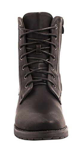 Elara Damen Stiefeletten | Bequeme Biker Boots | Lederoptik Schnürstiefeletten Schwarz New York 2