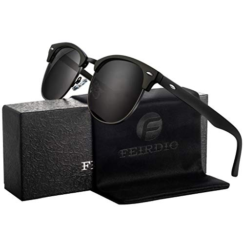 Feirdio Sonnenbrille Herren Damen Polarisierte Halbrahmen Retro Mode Vintage Fashion gläser 031
