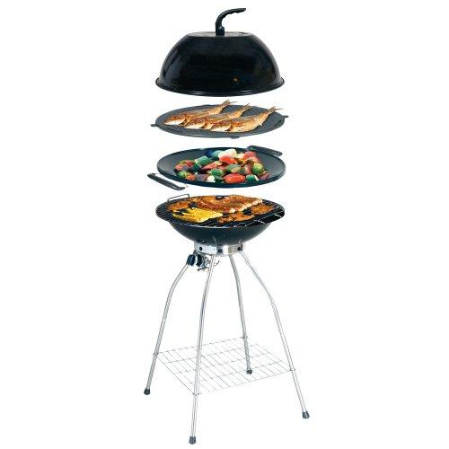Outdoor-gas-wok (Camp 4 Woki Gasgrillset 50 mbar mit Rost, Wok, Grillplatte & Deckel 91461)