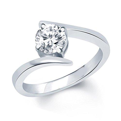VK Jewels SURPRISE DELIGHT Rhodium Plated solitare Ring - FR1028R [VKFR1028R8]
