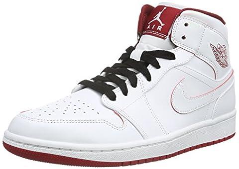 Nike Herren Air Jordan 1 Mid Sneakers, Weiß (103 White/Gym Red-Black), 42 EU