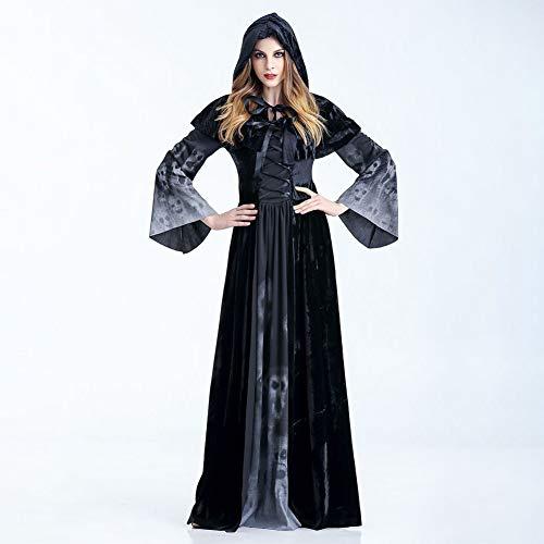 Tod Kostüm Frau - JH&MM Halloween Kostüm Frau Tod Kleid Langen Rock Horror Schädel Cosplay Maskerade Spielen,S