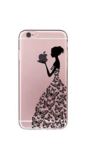 Neue Modelle TPU Silikon Schutz Handy Hülle Case Tasche Etui Bumper für Apple iPhone 7/8 - Henna Series Apple Butterfly Girl