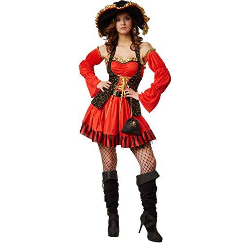 dressforfun Costume da donna - Sposa sexy del pirata | incl. Bella mini-borsa con emblema del teschio, lunghi guanti a manicotto, cintura e cappello con nastro giallo-dorato (L | no. 301781)