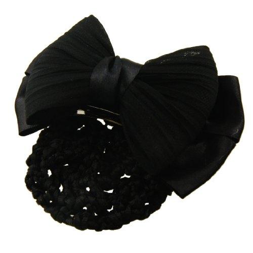 Sourcingmap Barrette en nylon et polyester en forme de nœud Noir