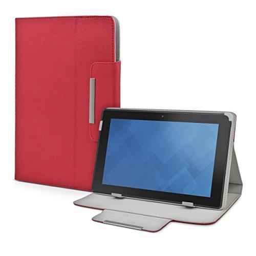 eFabrik Schutz Cover für Dell Venue 10 Pro (10 Zoll) Tasche Case Hülle Schutztasche Etui Ständer Funktion Leder-Optik rot
