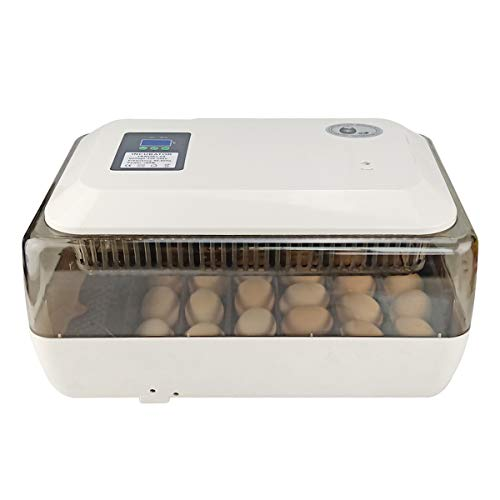 GBYNB Automatische 24 Hühnerei-Inkubator-Enten-Wachtel-Tauben-Geflügel-Vogelei-Brutapparat-intelligenter Temperatur-Bildschirm,White,43cmX29cmX22.5cm