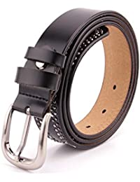 Touda creations Ceinture femme cuir vachette détails cloutés studs tendance  3 cm boucle métallique ceinture pour 35894c79df7