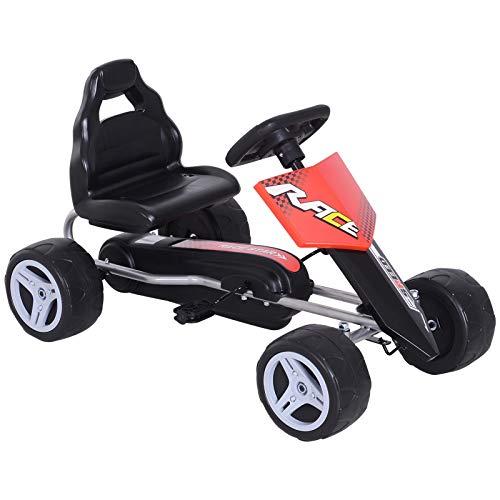 HOMCOM Kinder Go-Kart Tretauto Kinderfahrzeug mit Pedalen 4 Räder Metall + Kunststoff Rot 3-8 Jahre