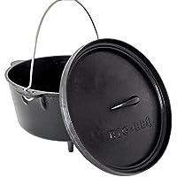 ToCis Big BBQ Big de BBQ de Dutch Oven Hierro Fundido | montado eingebrannter Olla de Cocina (Hierro Fundido, con levantatapa, Tapa o Olla de Soporte, con y sin pies.