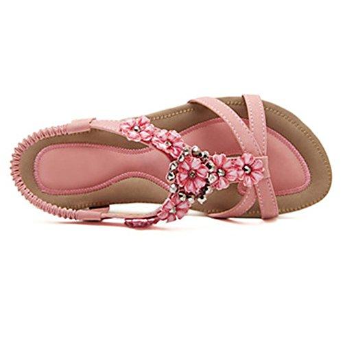 GAGLAI Chaussures Femmes Flat Heel Slingback / Sandales Confort Bureau & Carrière / Soirée & Soirée / Robe Rose / Amande Pink