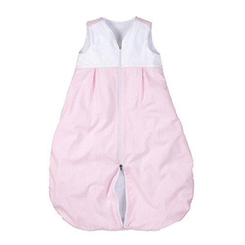 wellyou Kinder-Baby-Schlafsack, mit Fleece gefüttert, rosa-weiß Vichykaro, für Mädchen, 56 - 80, Rosa