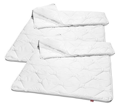 sleepling 2er Set 191129 Basic 160 Decke Mikrofaser 4-Jahreszeiten 135 x 200 cm, weiß
