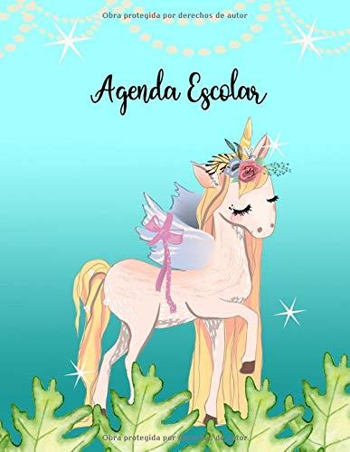 Agenda Escolar: Planificador de estudios Diario, Semanal y Mensual, Unicornio