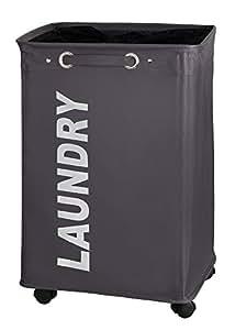 Panier à linge sur roulettes large Laundry