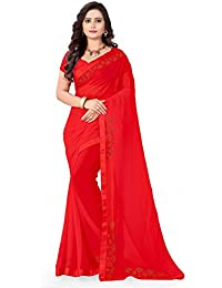 Riva Enterprise Women's Georgette Stone Work Red Color Saree With Blouse (RIVA56_)