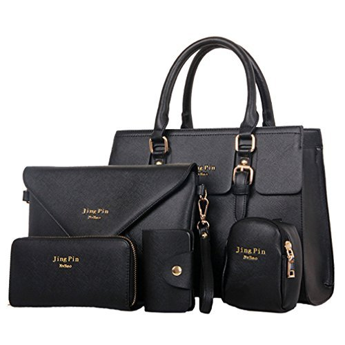 Tia-Ve DaMeteren Elegant PU Großeder Handtasche Set Taschen Tote Schultertasche UMeterhängetasche Geldbeutel 5pcs Beutel
