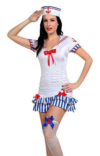 Damen Gute Qualität 5 Stück Reizvolle Matrosenmädchen Kostüm Größe 38-40 (5 Stück Matrose Kostüme)