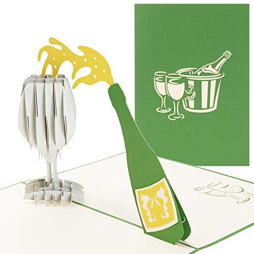 PaperCrush® Pop-Up Karte Champagner [NEU!] - 3D Glückwunschkarte mit Sektglas für diverse Anlässe (Geburtstagskarte, Hochzeitskarte, Gratulationskarte) - Handgemachte Geschenkkarte für Frauen