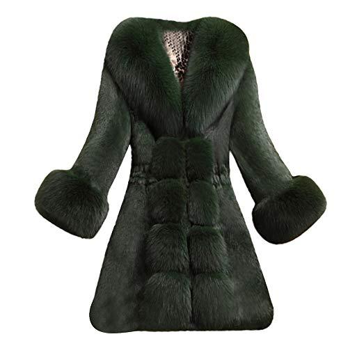iHENGH Vorweihnachtliche Karnevalsaktion Damen Herbst Winter Bequem Mantel Lässig Mode Jacke Frauen Faux Pelzmantel Elegante Dicke Warme Mode Oberbekleidung Lange Kunstpelzjacke