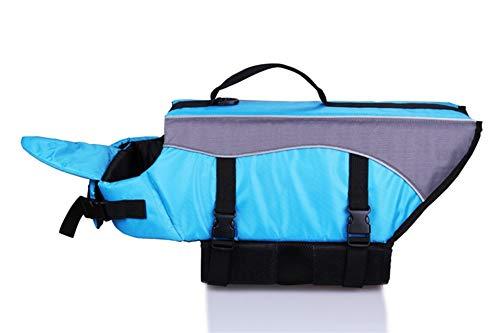 Geboren Kostüm Neue - Gulunmun Rettungswesten für Hunde Reflektierende Schwimmwesten für Hunde, Schwimmweste für Hunde Sommerbadebekleidung für Hunde/Haustiere Blau, L
