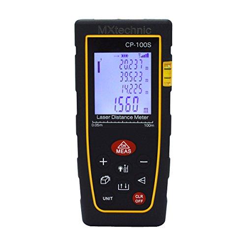 MXtechnic Digitaler Laser Entfernungsmesser 0.05 bis 100m Messbereich Hohe Präzisionslasermessgerät mit Schutztasche, IP54 Staub- und Spritzwasser-Schutz (CP-100S)