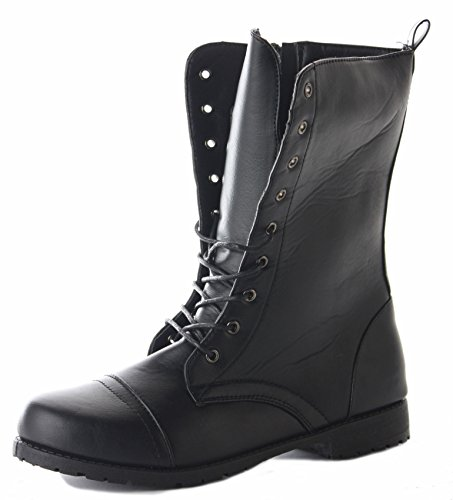 Womens Ladies Girls Black Military Army Combat Style Flat Lace Up Ankle Boots Size